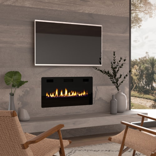 "42"" Electric Fireplace Recessed 3.86"" Ultra Thin Insert Wall Mounted and In Wall Perspective: right"