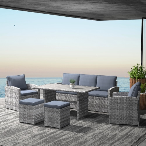Kumo Outdoor Dining Table Set Patio Conversation Furniture Grey Wicker Grey Cushion Perspective: right