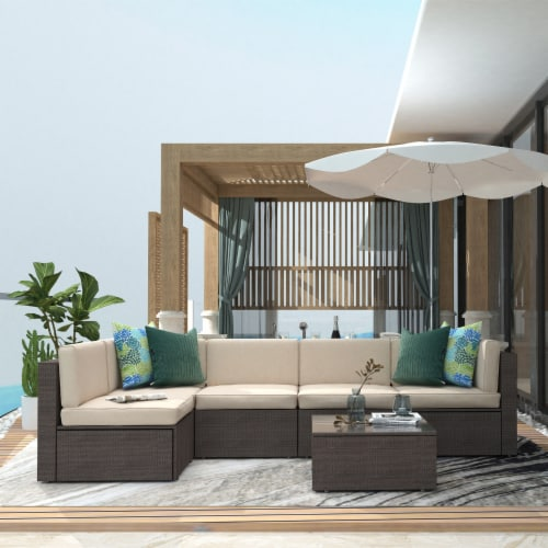 Kumo 6 Piece Patio Furniture Sectional Wicker Outdoor Sofa with Glass Coffee Table Perspective: right
