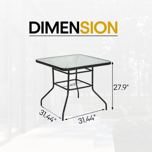 """Kumo 32"""" x 32"""" Outdoor Dining Table Tempered Glass Table Patio Umbrella Stand Perspective: right"""