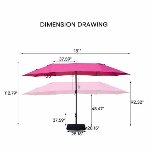 Kumo 15ft Rectangular Patio Double Sided Outdoor Large Umbrella With Sand Base(Rose Red) Perspective: right