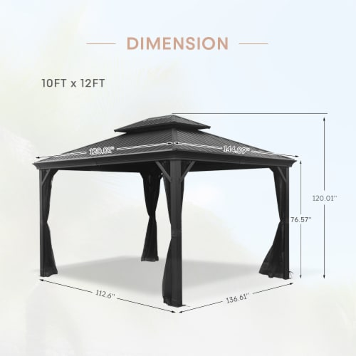 Kumo 10ft x 12ft Hardtop Gazebo Outdoor Metal Canopy Gazebo with Netting Perspective: right