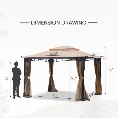 Kumo Patio Gazebo with Mosquito Netting Outdoor Gazbeo Canopy 10x12, Sand Perspective: right