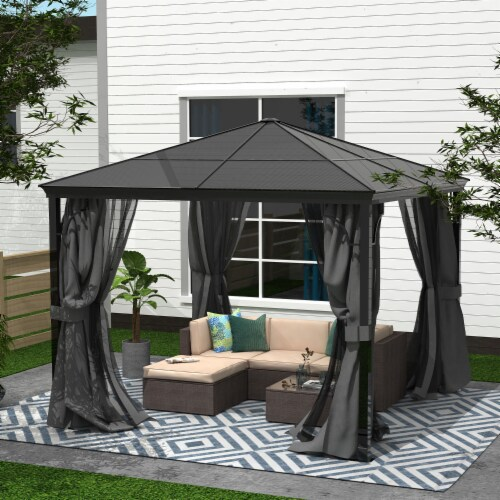 Kumo 10x10 Hardtop Gazebo Aluminum Frame and Polycarbonate Hardtop with Netting and Curtains Perspective: right