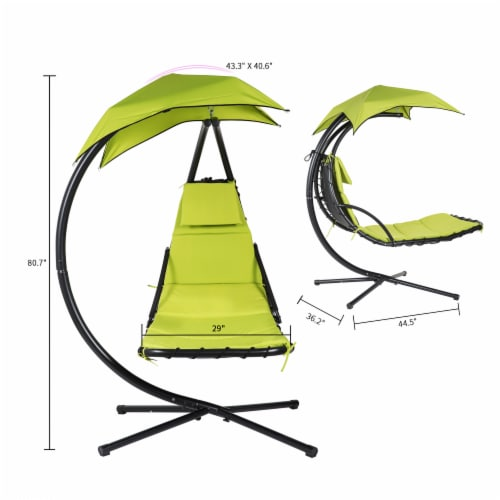 Kumo Hanging Chaise Lounge Chair Canopy Floating Chaise Lounger Swing Hammock Chair Perspective: right