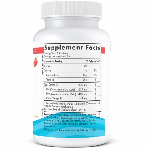 Nordic Naturals DHA from Fish Oil Strawberry Softgels Perspective: right