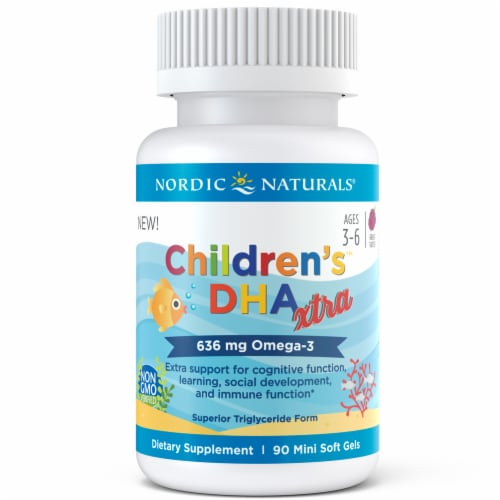 Nordic Naturals Children's DHA Extra Omega-3 Mini Soft Gels 636 mg Perspective: right