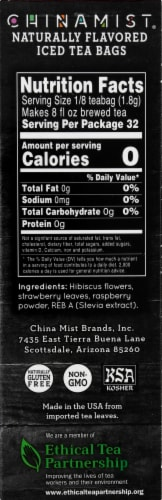 China Mist Berry Hibiscus Naturally Flavored Iced Herbal Tea Bags Perspective: right
