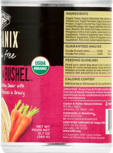 Castor & Pollux Organix Butcher & Bushel Turkey & Vegetables Dog Food Perspective: right