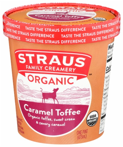 Straus Organic Caramel Toffee Crunch Ice Cream Perspective: right