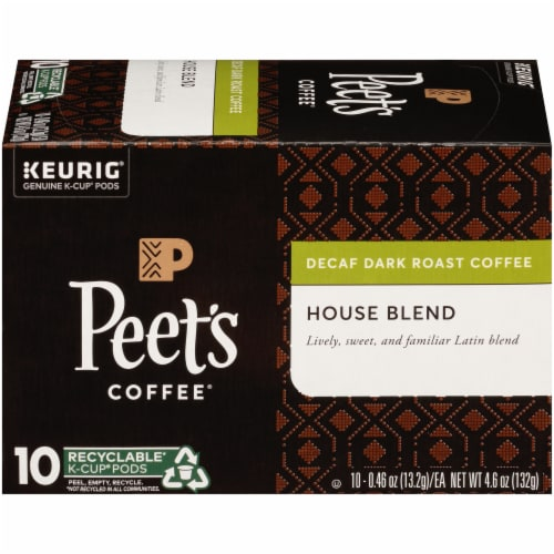 Peet's Coffee House Blend Decaffeinated Dark Roast Coffee K-Cup Pods Perspective: right