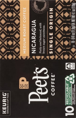 Peet's Coffee Nicaragua Adelante Medium Roast Coffee K-Cup Pods 10 Count Perspective: right