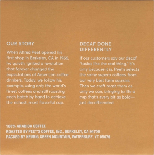Peet's Decaf Especial Medium Roast Coffee K-Cup Pods Perspective: right
