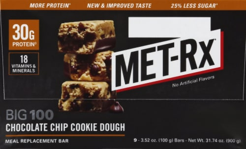 Met-Rx Big 100 Chocolate Chip Cookie Dough Bar Perspective: right