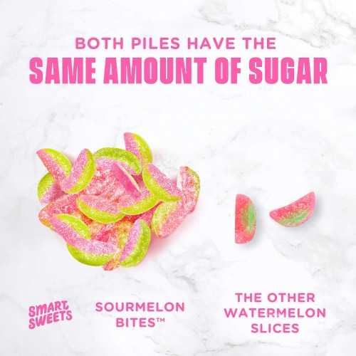 SmartSweets Sourmelon Bites, Candy with Low Sugar (3g), Low Calorie, 1.8 oz (Pack of 12) Perspective: right