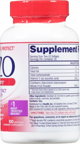 Azo Cranberry Urinary Tract Supplement Softgels Perspective: right