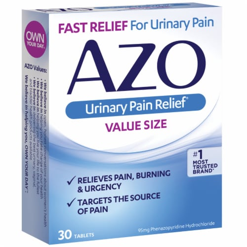 Azo Urinary Pain Relief Value Size Tablets 95 mg Perspective: right