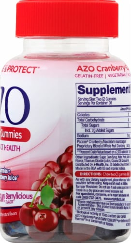 I-Health Mixed Berry AZO Cranberry Gummies Perspective: right