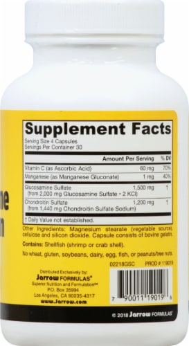 Jarrow Formulas Glucosamine plus Chondroitin Combination Capsules Perspective: right