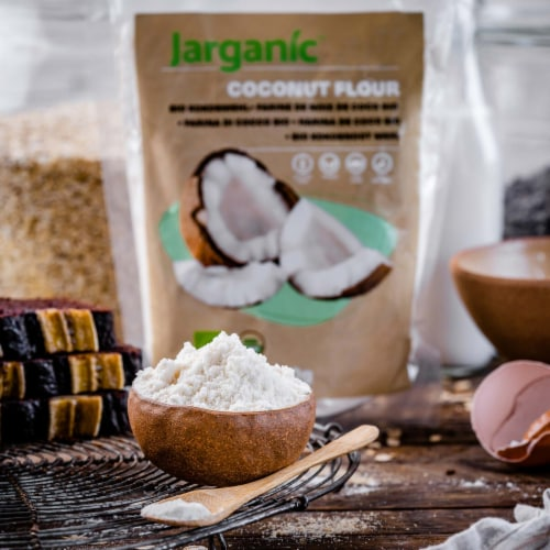 Organic Coconut Flour 1 lb / 16 Ounce - Keto Paleo Vegan, Low Carb, Certified Organic Perspective: right