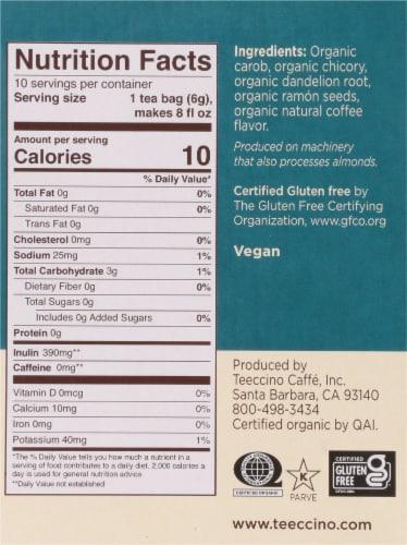 Teeccino Dandelion Dark Roast Herbal Tee Bags Perspective: right
