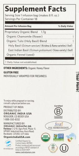 Organic India Tulsi Tea Honey Chamomile Perspective: right