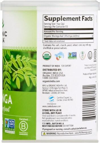Organic India Moringa Organic Leaf Powder Herbal Supplement Perspective: right