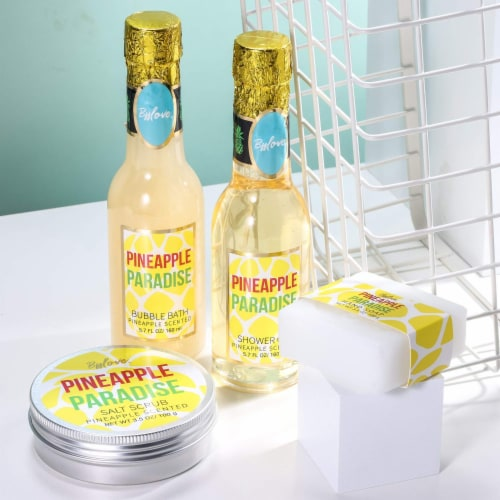 Pineapple Scent Spa Sets with Bubble Bath/Shower Gel/Soap, Bath Gift Set Perspective: right