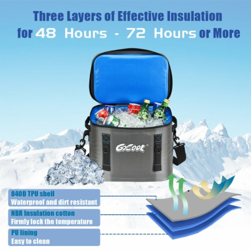 Gymax 30 Cans Soft Portable Cooler Bag Leak-Proof Insulated Water-Resistant For Picnic Perspective: right