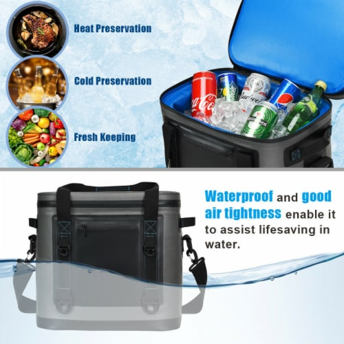 Gymax 38 Cans Portable Cooler Bag Leak-Proof Insulated Water-Resistant For Camping Perspective: right