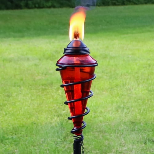Sunnydaze 2-in-1 Metal Swirl with Red Glass Outdoor Lawn Torch - Set of 2 Perspective: right