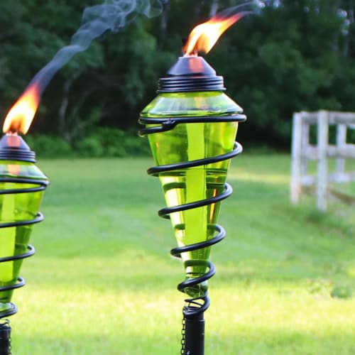 Sunnydaze 2-in-1 Metal Swirl with Green Glass Outdoor Lawn Torch - Set of 2 Perspective: right