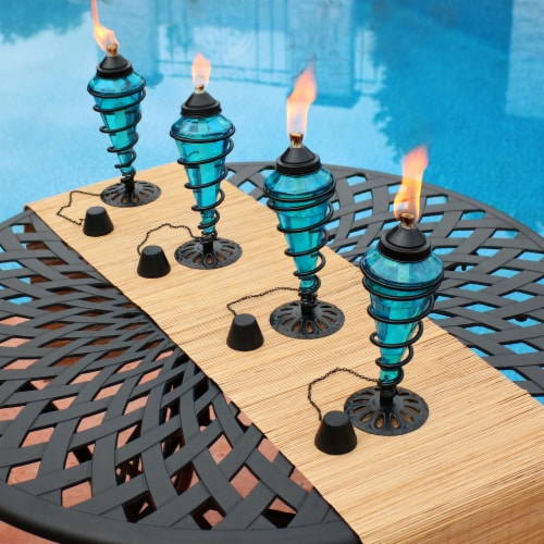 Sunnydaze Blue Glass Outdoor Tabletop Torches - Citronella Torch - Set of 4 Perspective: right