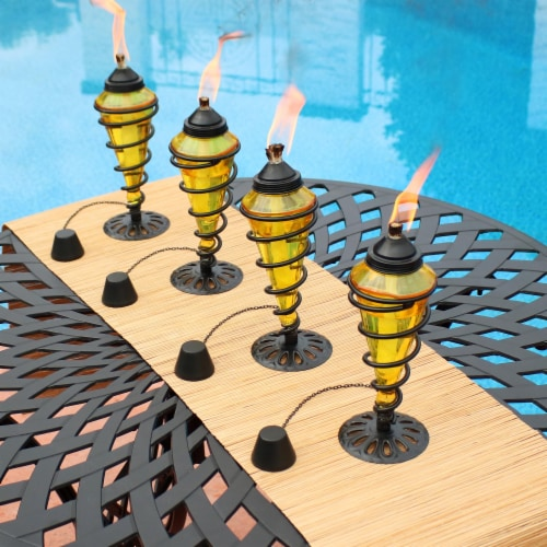 Sunnydaze Yellow Glass Outdoor Tabletop Torches with Fiberglass Wicks - Set of 4 Perspective: right
