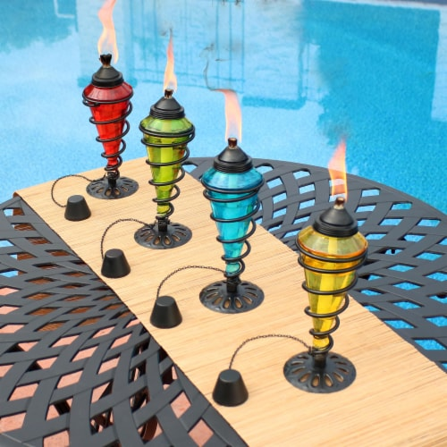 Sunnydaze Colored Glass Outdoor Tabletop Torches - Fiberglass Wicks - Set of 4 Perspective: right