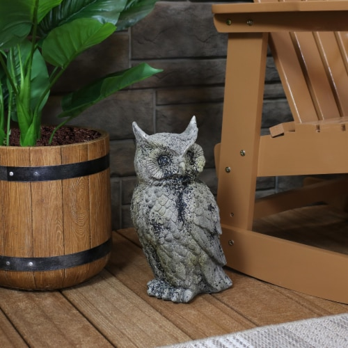 """Sunnydaze Outdoor Garden Statue Great Horned Owl Patio and Lawn Decor - 14"""" Perspective: right"""