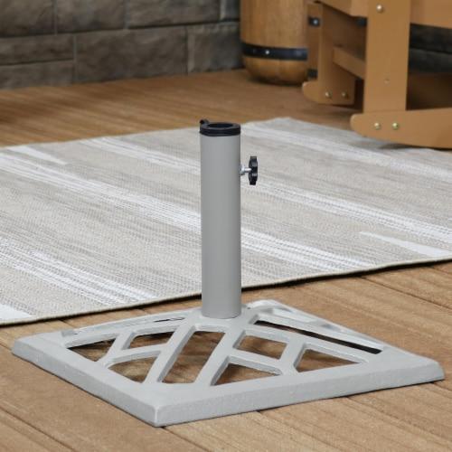"""Sunnydaze Cast Iron Gray Geometric Patio Umbrella Base/Stand - 17"""" Square Perspective: right"""