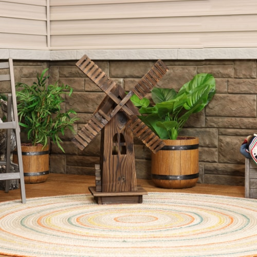 Sunnydaze Outdoor Decorative Wood Dutch Windmill - Lawn Decor - 34-Inch Perspective: right