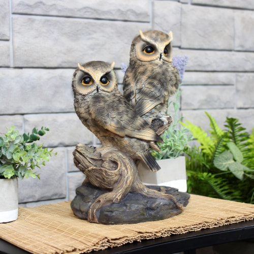 Sunnydaze Watchful Owls Outdoor Garden Statue - 13-Inch Perspective: right