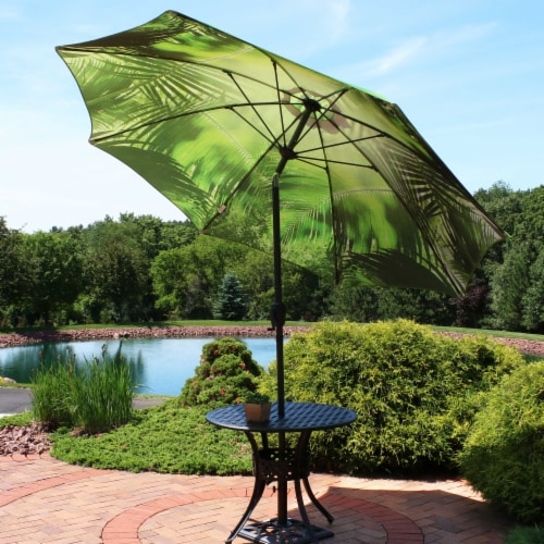 Sunnydaze Patio Market Umbrella Green with Tropical Leaf Design - 8-Foot Perspective: right