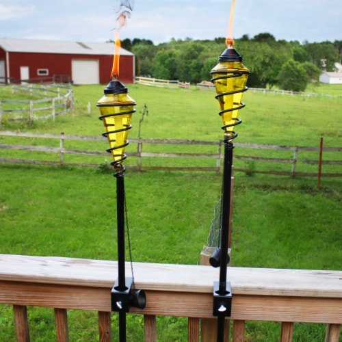 Sunnydaze 2-in-1 Swirling Metal Glass Outdoor Lawn Torch Set of 4 - Yellow Perspective: right