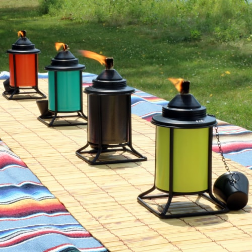 Sunnydaze Multi-Color Outdoor Backyard Patio Tabletop Metal Torches - Set of 8 Perspective: right