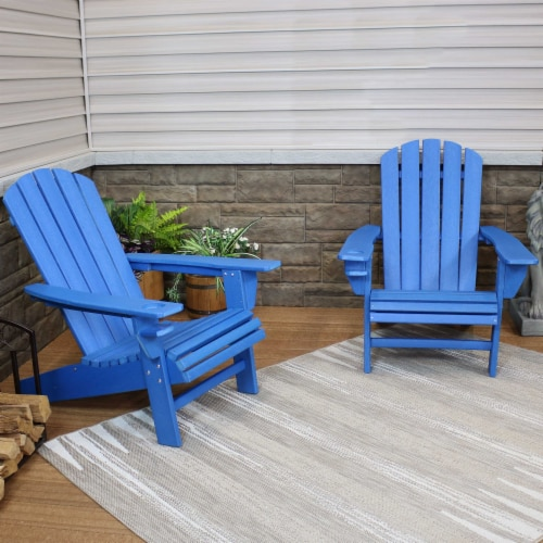 Sunnydaze All-Weather Blue Outdoor Adirondack Chair with Drink Holder - Set of 2 Perspective: right