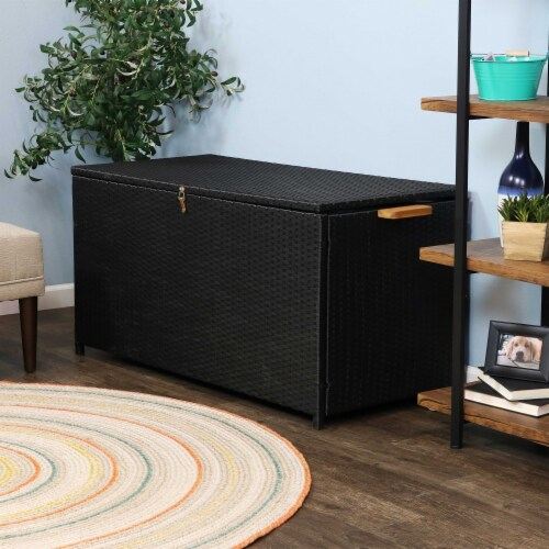 Sunnydaze Outdoor Storage Deck Box with Acacia Handles - Black Resin Rattan Perspective: right