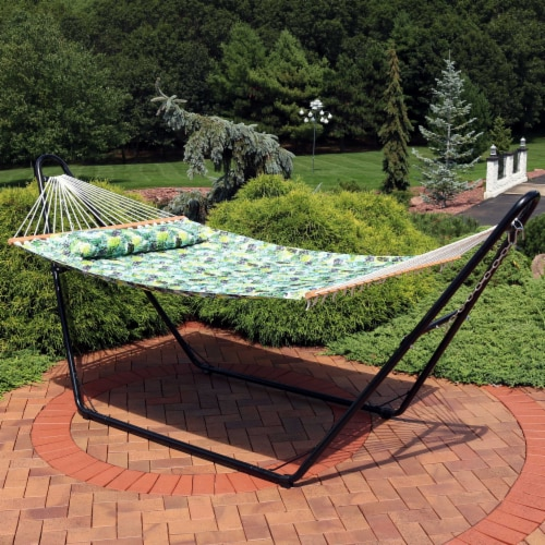 Sunnydaze 2-Person Fabric Spreader Bar Hammock and Pillow - Tropical Greenery Perspective: right