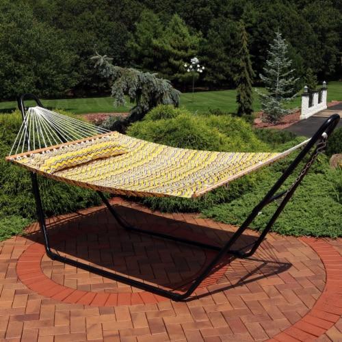 Sunnydaze 2-Person Fabric Spreader Bar Hammock and Pillow - Yellow Gray Chevron Perspective: right