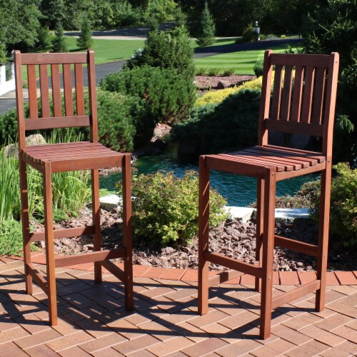 Sunnydaze Meranti Wood Bar Height Chairs - Set of 2 Perspective: right