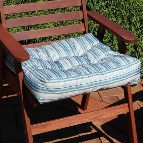 Sunnydaze Set of 2 Tufted Outdoor Seat Cushions - Neutral Stripes Perspective: right