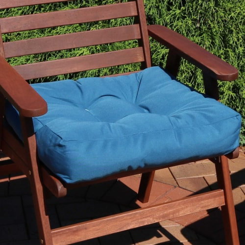 Sunnydaze Set of 2 Tufted Outdoor Seat Cushions - Blue Perspective: right