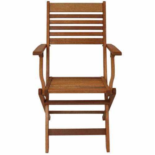 Sunnydaze Meranti Wood 5-Piece Outdoor Folding Patio Dining Set Perspective: right
